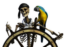 Pirata di scheletro - con il percorso di residuo della potatura meccanica illustrazione vettoriale