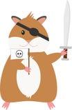 Pirata divertente del criceto del fumetto Fotografia Stock Libera da Diritti