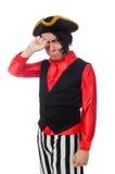 Pirata divertente isolato sul bianco Immagine Stock Libera da Diritti