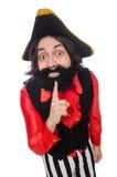 Pirata divertente isolato sul bianco Immagini Stock