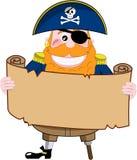 Pirata divertido que mira el mapa del tesoro Fotos de archivo