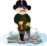 Pirata dos desenhos animados com ouro Foto de Stock