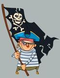 Pirata dos desenhos animados com um peixe do gênero Notropis que guarda uma bandeira de pirata Foto de Stock