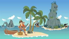 Pirata dos desenhos animados em uma praia tropical bonita ilustração do vetor