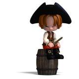 Pirata dulce y divertido de la historieta con el sombrero ilustración del vector