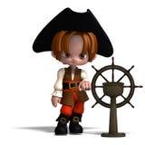 Pirata dulce y divertido de la historieta con el sombrero. 3D stock de ilustración