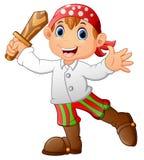 Pirata dzieciak trzyma drewnianego kordzika Zdjęcia Royalty Free