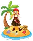 Pirata e ilha Imagem de Stock
