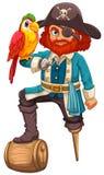 Pirata e papagaio Fotografia de Stock Royalty Free