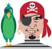 Pirata e papagaio Fotografia de Stock