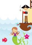 Pirata e sereia no mar Foto de Stock Royalty Free