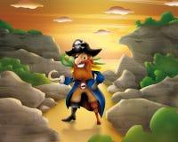Pirata en la playa Fotos de archivo