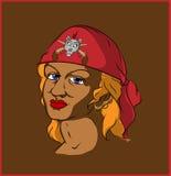 Pirata en pañuelo rojo Foto de archivo