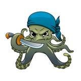Pirata enojado del pulpo de la historieta con la espada Imagen de archivo libre de regalías