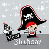 Pirata felice del biglietto di auguri per il compleanno Immagini Stock