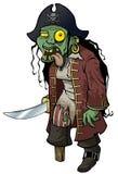 Pirata grotesco del zombi aislado stock de ilustración