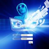 Pirata informático con la pantalla de la conexión Fotografía de archivo