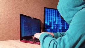 Pirata informático con una capilla Un hombre en una máscara en el ordenador Usuario del servidor almacen de metraje de vídeo