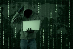 Pirata informático confuso Foto de archivo libre de regalías