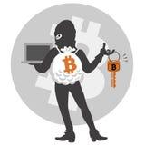 Pirata informático de Bitcoin Fotos de archivo