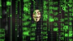 Pirata informático de ordenador anónimo que lleva la máscara de la venganza de Guy Fawkes metrajes