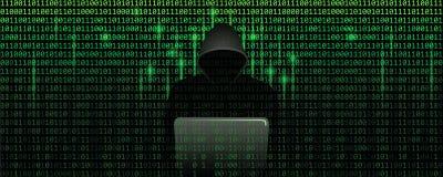 Pirata informático de ordenador en concepto de la ciberdelincuencia de la matriz con el fondo de la web del código binario ilustración del vector