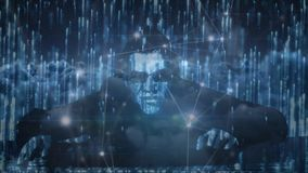Pirata informático de sexo masculino contra conexiones de los códigos binarios y de datos stock de ilustración