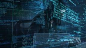 Pirata informático de sexo masculino que usa el ordenador para cortar el sistema y la codificación en el primero plano ilustración del vector