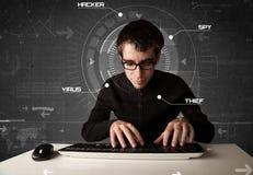 Pirata informático en cortar futurista del ambiente Fotografía de archivo libre de regalías