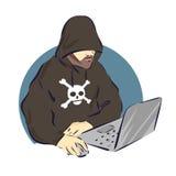 Pirata informático en el icono del ordenador portátil, muestra criminal de la historieta, ejemplo del vector stock de ilustración