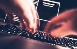 Pirata informático en trabajo Fotos de archivo libres de regalías