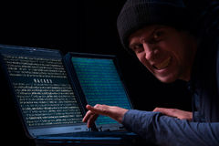 Pirata informático enojado fotografía de archivo libre de regalías