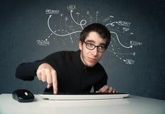 Pirata informático joven con la línea dibujada blanca pensamientos Fotografía de archivo libre de regalías