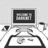 Pirata informático o freelancer del lugar de trabajo de la primera persona libre illustration