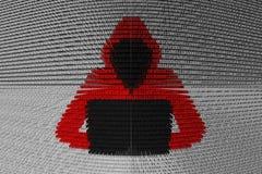 Pirata informático presentado bajo la forma de código binario Foto de archivo