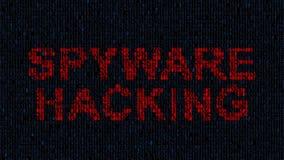 Pirata informático que bloquea el ordenador mientras que caracteres de código azules en web oscuro Virus de ordenador metrajes