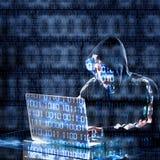 Pirata informático que mecanografía en un ordenador portátil Foto de archivo