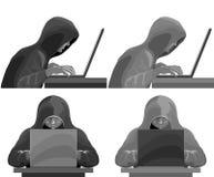 Pirata informático que roba datos y contraseñas de un ataque de computadora personal, cibernético Sistema blanco y negro fotos de archivo