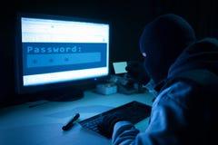Pirata informático que roba la información de datos de un ordenador Fotos de archivo