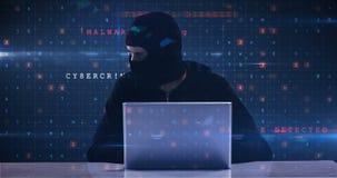 Pirata informático que usa la computadora portátil