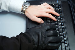 Pirata informático y hombre de negocios del hurto de identidad Fotos de archivo libres de regalías
