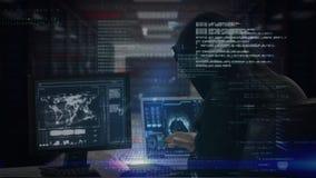 Pirata inform?tico que corta el ordenador con datos sobre el primero plano libre illustration
