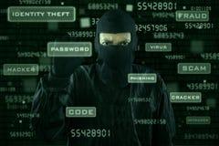 Pirata informatico che prende parola d'ordine dall'interfaccia moderna Fotografia Stock Libera da Diritti