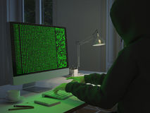 Pirata informatico che ruba i dati dal pc rappresentazione 3d Fotografia Stock Libera da Diritti