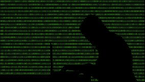 Pirata informatico che scrive su un computer portatile con 01 o sui numeri binari sullo schermo di computer sulla matrice del fon illustrazione di stock