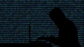 Pirata informatico che scrive su un computer portatile con 01 o sui numeri binari sullo schermo di computer sulla matrice del fon illustrazione vettoriale