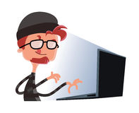 Pirata informatico che scrive su un personaggio dei cartoni animati dell'illustrazione del computer Immagine Stock Libera da Diritti