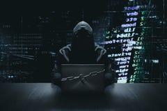 Pirata informatico davanti al cibercrimine bloccato del computer immagini stock libere da diritti