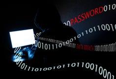 Pirata informatico di computer che ruba parola d'ordine Immagini Stock Libere da Diritti