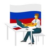 Pirata informatico di computer russo che lavora con il computer portatile Immagine Stock